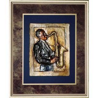 Cast Paper 'Jazz Sax' 24x28 Indoor/ Outdoor Framed Art