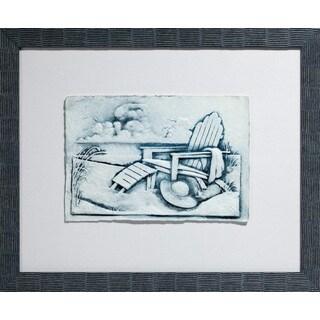 Cast Paper 'Med. Beach Chairs ll' 19x23 Indoor/ Outdoor Framed Art