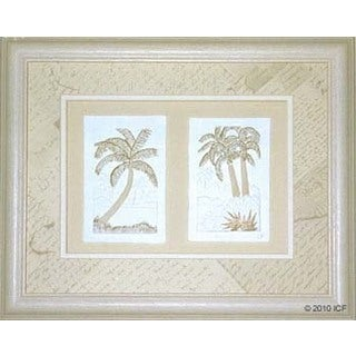 Cast Paper 'Mini Palm Combo' 13x16 Indoor/ Outdoor Framed Art