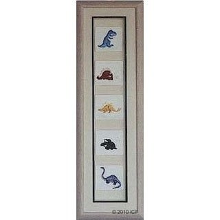 Cast Paper 'Dinosaur Collection' 10x32 Indoor/ Outdoor Framed Art