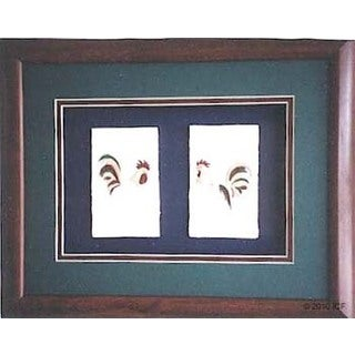 Cast Paper 'Rooster Combo' 13x16 Indoor/ Outdoor Framed Art