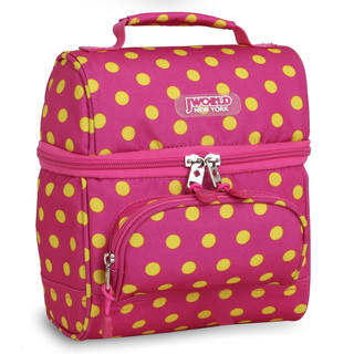 J World Corey Pink/Yellow Buttons Double Decker Lunch Bag