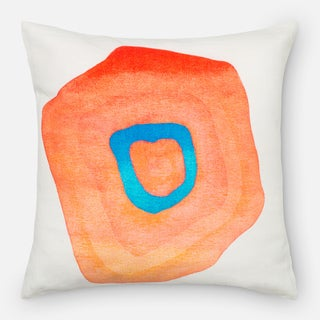 Screen Printed Orange Color Mod Feather and Down Filled or Polyester Filled 18-inch Throw Pillow or Pillow Cover