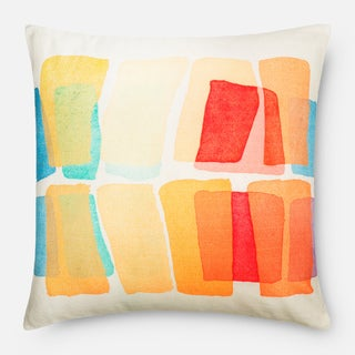 Screen Printed Multi Color Mod Feather and Down Filled or Polyester Filled 22-inch Throw Pillow or Pillow Cover