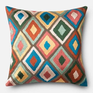 Embroidered Multi Diamond Feather and Down Filled or Polyester Filled 18-inch Throw Pillow or Pillow Cover
