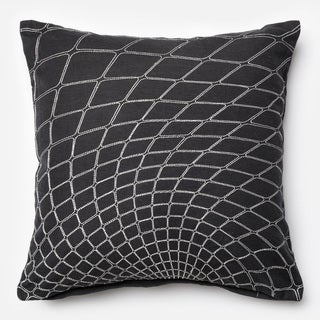 Embroirdered Cotton Black/ White Geometric Feather and Down Filled or Polyester Filled 22-inch Throw Pillow or Pillow Cover
