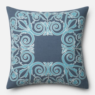 Printed Cotton Blue Scroll Feather and Down Filled or Polyester Filled 18-inch Throw Pillow or Pillow Cover