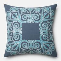 Printed Cotton Blue Scroll Throw Pillow or Pillow Cover 18 x 18