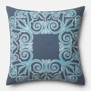 Printed Cotton Blue Scroll 18-inch Throw Pillow or Pillow Cover