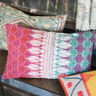 Printed Cotton Pink/ Green Bohemian Feather and Down Filled or Polyester Filled 13 x 21 Lumbar Throw Pillow or Pillow Cover