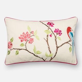 Embroidered Cotton Pink/ Ivory Floral Feather and Down Filled or Polyester Filled 13 x 21 Throw Pillow or Pillow Cover