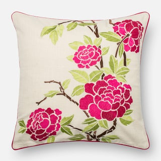 Embroidered Cotton Pink/ Ivory Floral Feather and Down Filled or Polyester Filled 18-inch Throw Pillow or Pillow Cover