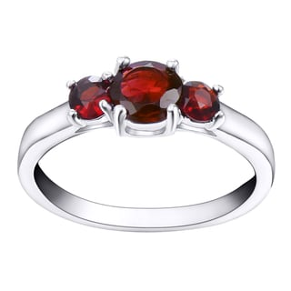 18k White Gold Overlay 3-stone Genuine Garnet Ring