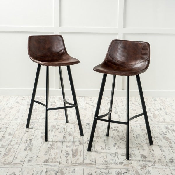 Dax Faux Leather Snake Skin Pattern Barstool Set Of 2 By