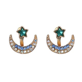 14k Gold Overlay Crystal Star and Moon Earrings