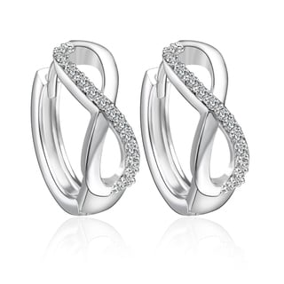 Huggie Swarowski Crystal Infinity Hoop Earrings