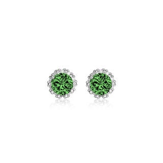 18k White Gold Overlay 2-carat TCW Genuine Emerald Crown Earrings