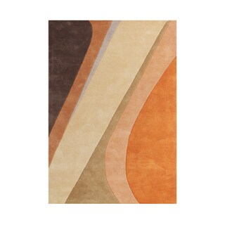 Alliyah Rugs Orange/Brown Wool Handmade Flowing Ribbons Abstract Natural Floor Rug - 8' x 10'
