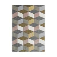 Alliyah Geometric 3D Cubes Aluminum Grey Wool Handmade Rug (5' x 8') - 5' x 8'