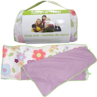 Little Girl's Floral and Lilac Roll Up Napping Mat with Attached Pillow and Blanket