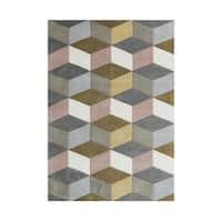 Alliyah Rugs Aluminum Grey/Beige Wool Geometric 3D Cubes Handmade Area Rug - 8' x 10'