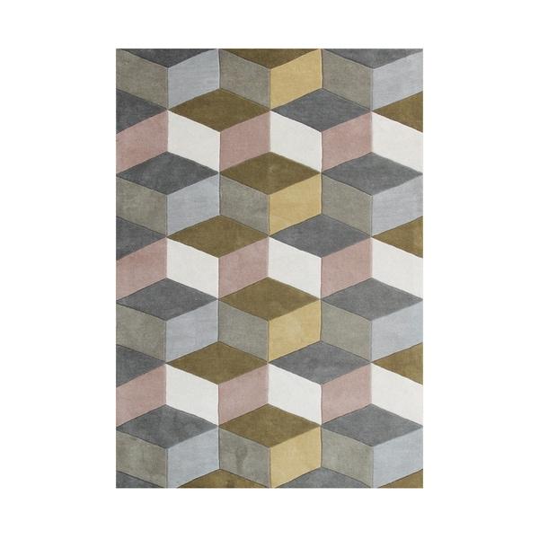 Alliyah Rugs Aluminum Grey/Beige Wool Geometric 3D Cubes Handmade Area Rug