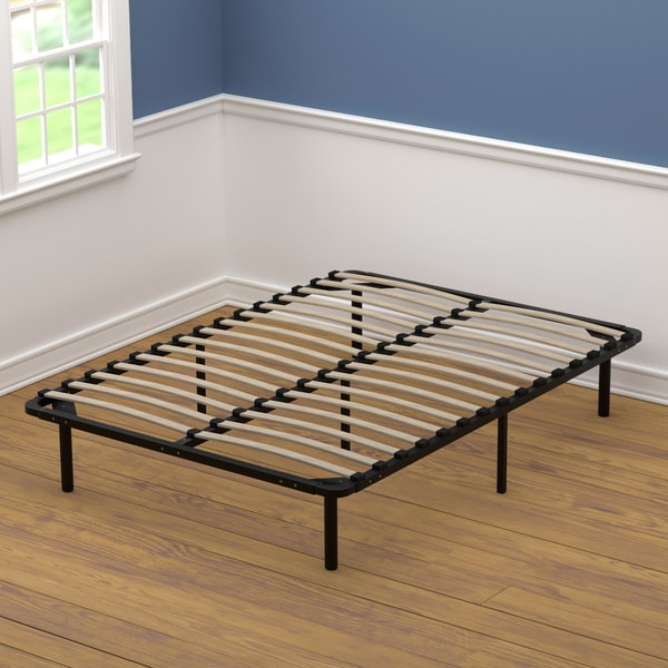Handy living full size wood slat bed frame free shipping for Full size bed frame