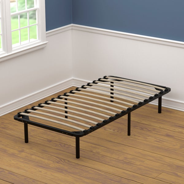 Handy living twin size wood slat bed frame free shipping for Twin size wood bed frame