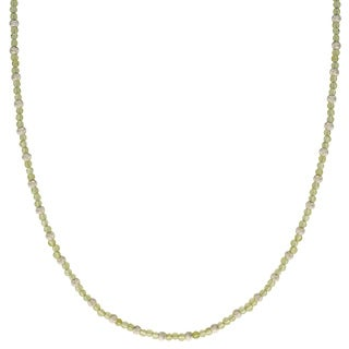 Gems For You 18-inch Sterling Silver Peridot and Brilliance Bead Necklace