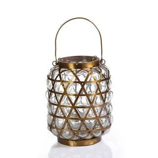 Bubble Basket Antique Brass Lantern/Clear - Large