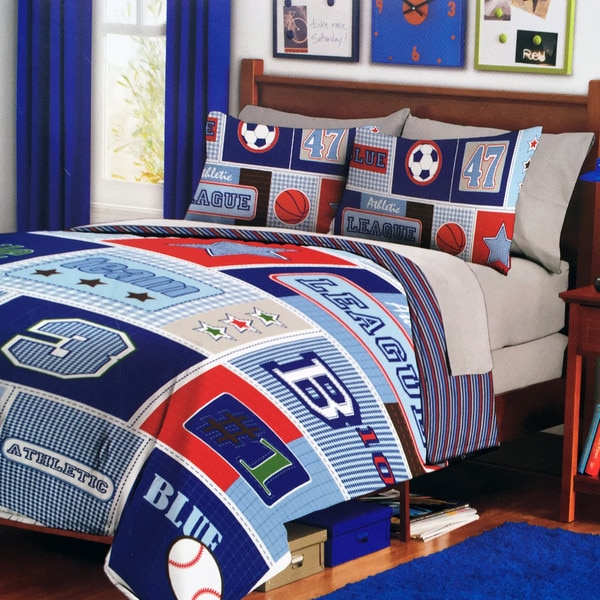 Blue Leaders Collection Sport Twin Reversible 2-piece Comforter Set