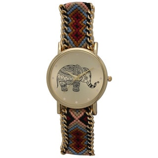 Olivia Pratt Women's Braided Band Tribal Elephant Watch