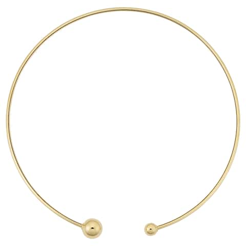 Fremada 14k Yellow Gold High Polish Screw Ball Choker Collar Necklace