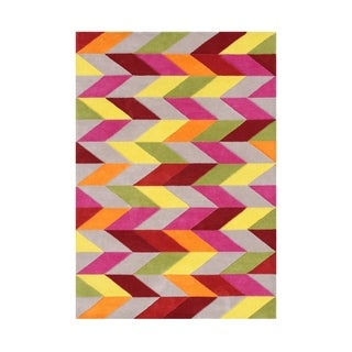Alliyah Rugs Multicolored Wool Optical Graphic Handmade Contemporary Rug (5' x 8')