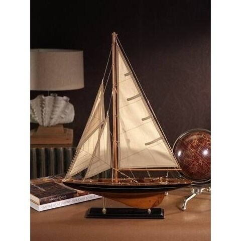 "28"" Tall Wooden Sailboat Model"