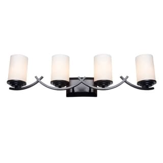 Oil Rubbed Bronze 4-Light Bathroom Vanity Light Fixture with White Opal Glass