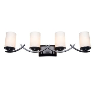 Y-Decor Oil Rubbed Bronze 4-Light Bathroom Vanity Light Fixture with White Opal Glass