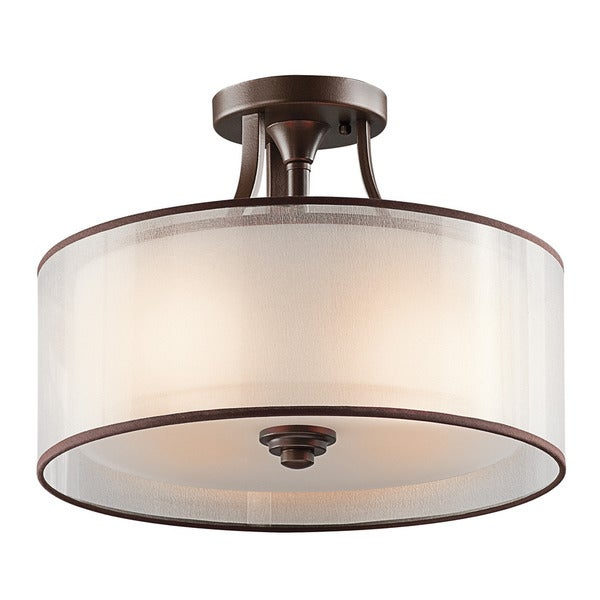 Kichler Lighting Lacey Collection 3 Light Mission Bronze Semi Flush Mount