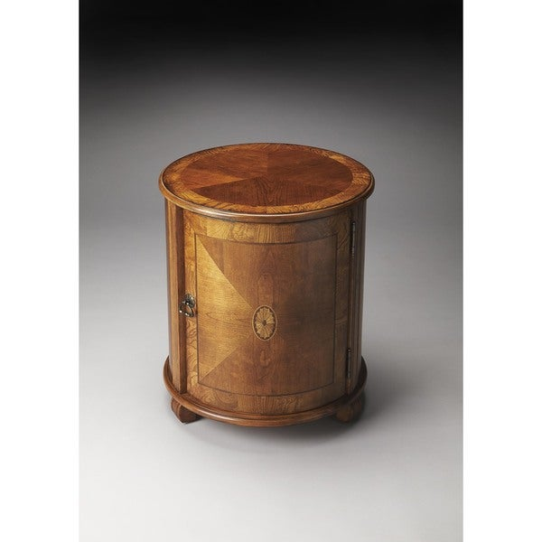 Butler Traditional Olive Ash Burl Finish Drum Table