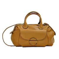 Moda Women's Large Faux Leather Barrel Double Handle Purse