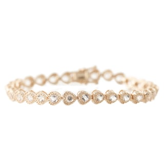 Rose Gold-plated Sterling Silver Morganite Heart Shape Tennis Bracelet