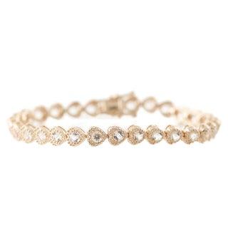 Pinctore Rose Gold-plated Sterling Silver Morganite Heart Shape Tennis Bracelet