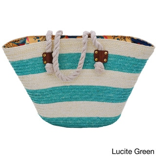 Moda Women's Multicolor Faux Leather Large Nautical Striped Beach Carry-all Tote Bag