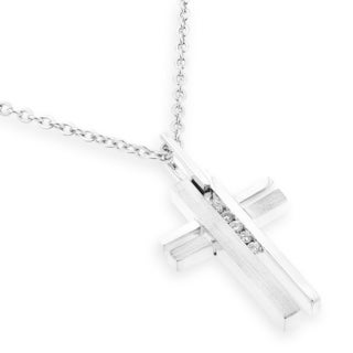 18k White Gold Cross Shape Diamond Accent Pendant (G-H, SI1-SI2)
