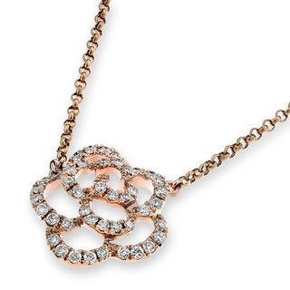 18k Yellow Gold 1/5ct TDW Diamond Rose Shape Necklace (G-H, SI1-SI2)