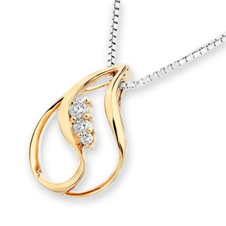 18k Rose Gold Diamond Accent Water Drop with 3-stone Pendant (G-H, SI1-SI2)