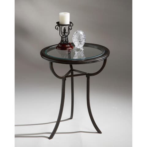 Butler Distressed Aluminum and Glass Accent Table in Metalworks Finish