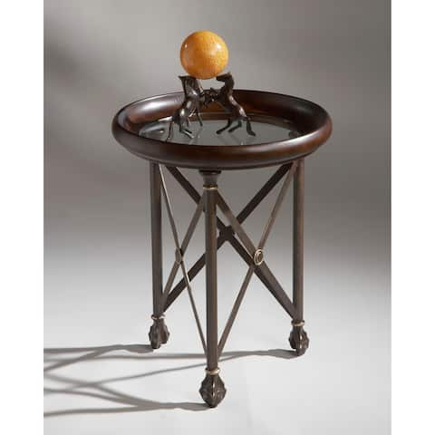 Butler Distressed Aluminum and Glass Accent Table in Faux Leather Finished Rim