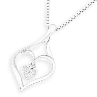 18k White Gold Heart-shaped with 3-stone Diamond Accent Pendant (G-H, SI1-SI2)