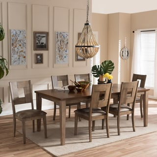 "Baxton Studio Aminta Country Cottage Weathered Grey and ""Oak"" Brown 2-Tone Finishing Wood Top 7-Piece Extendable Dining Set"